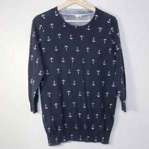 J. Crew Navy Anchor Print Cotton Sweater Size - M